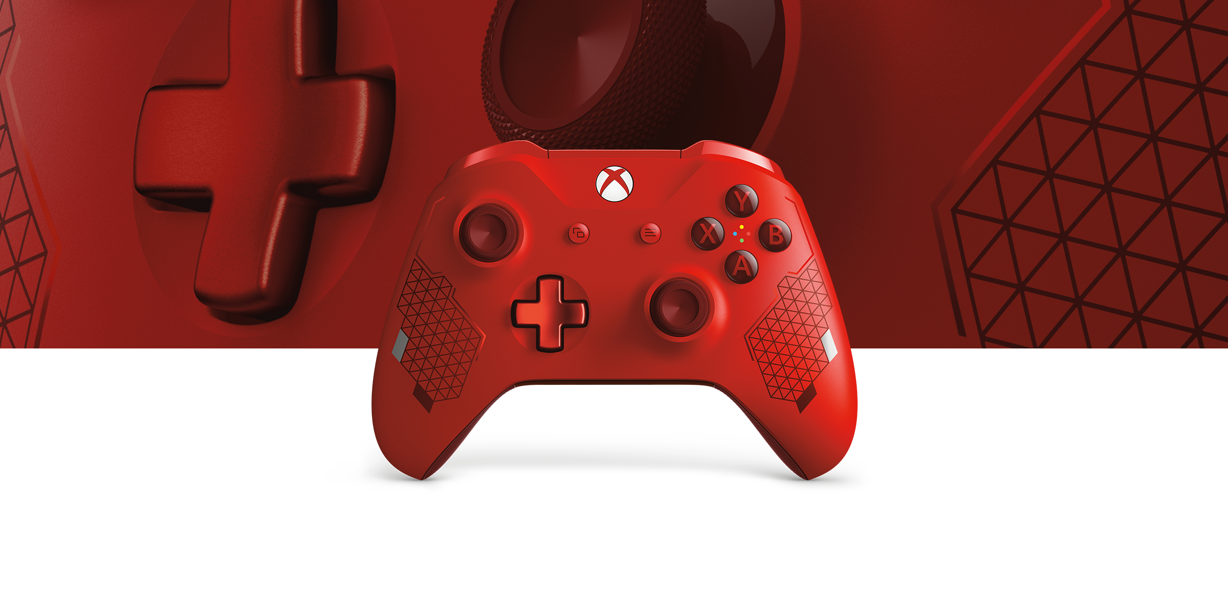 Xbox Wireless Controller Sport Red Special Edition with a close up view of the controller in the background