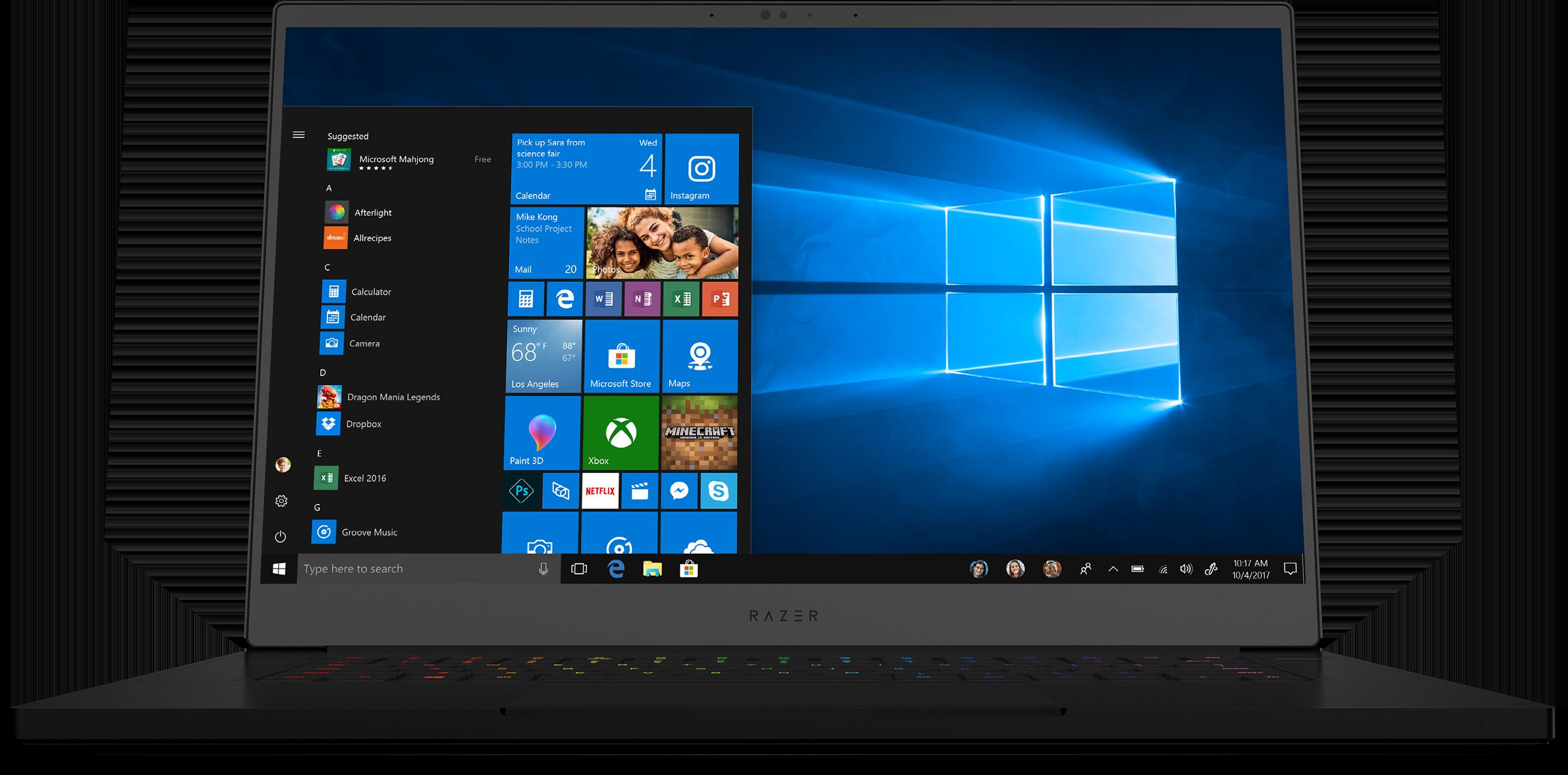Front view of open Razer Blade laptop