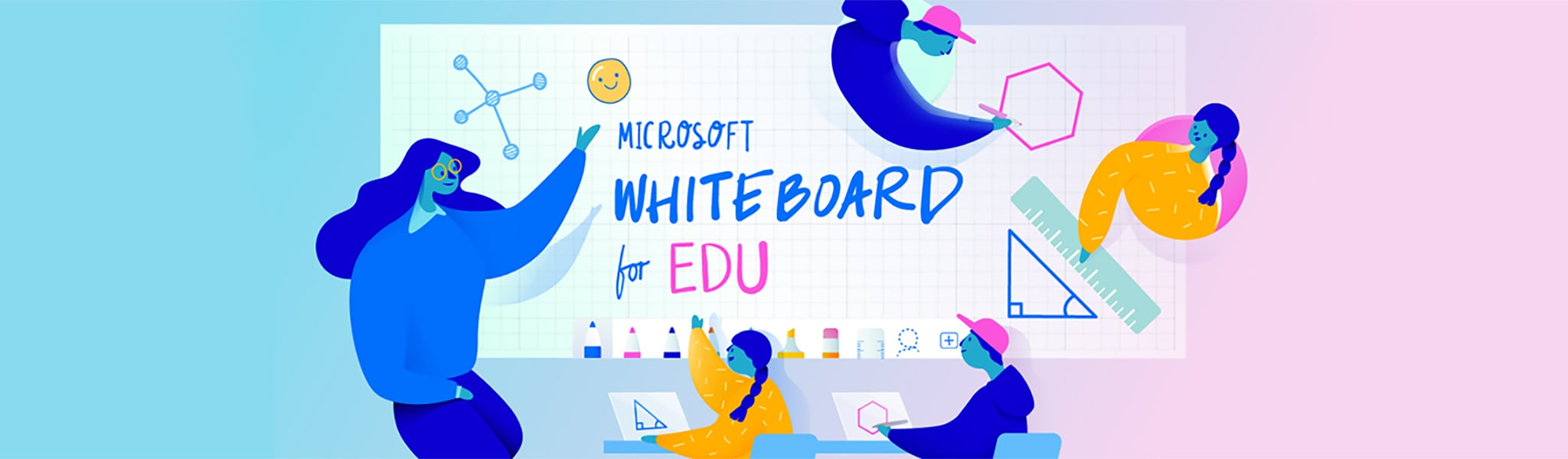 Illustration of a teacher and students using Microsoft Whiteboard