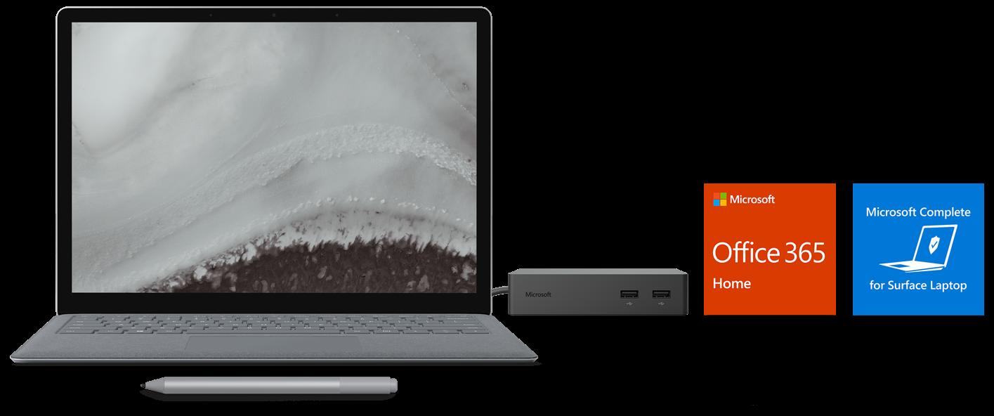 Surface Laptop 2, Surface Dock, Surface Pen, Office 365, Surface Laptop Complete