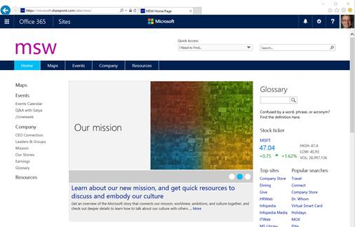 The MSW portal is shown in SharePoint online.
