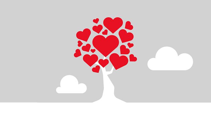Puu, jonka lehdet ovat sydämen muotoisia