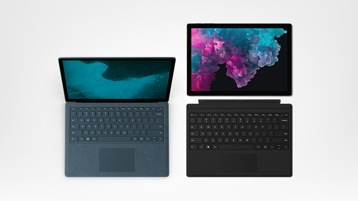 Surface Pro 6 with Type cover (Cobalt Blue), Surface Laptop 2