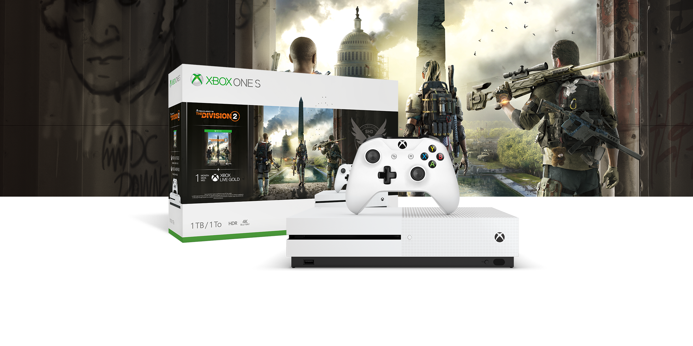 Console Xbox One S davanti a un bundle hardware raffigurante Tom Clancy's The Division 2