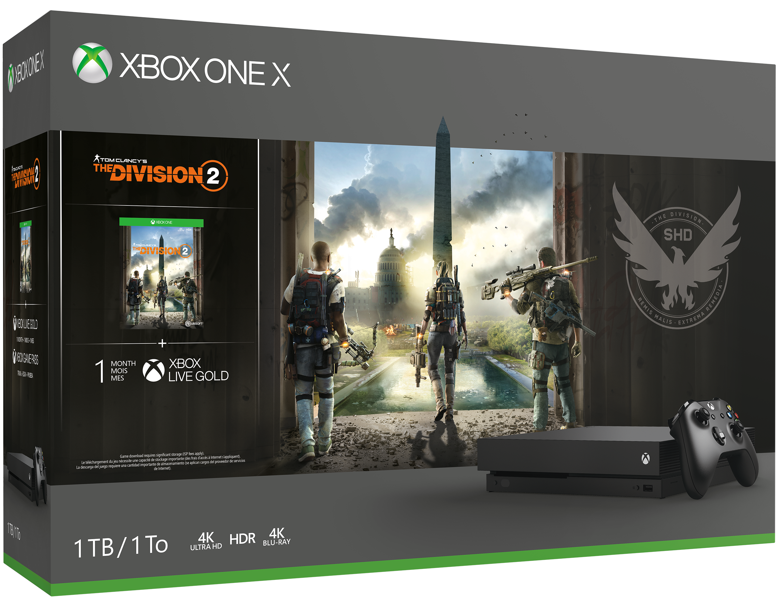Illustraties op de verpakking van Xbox One X Tom Clancy's The Division 2-bundel