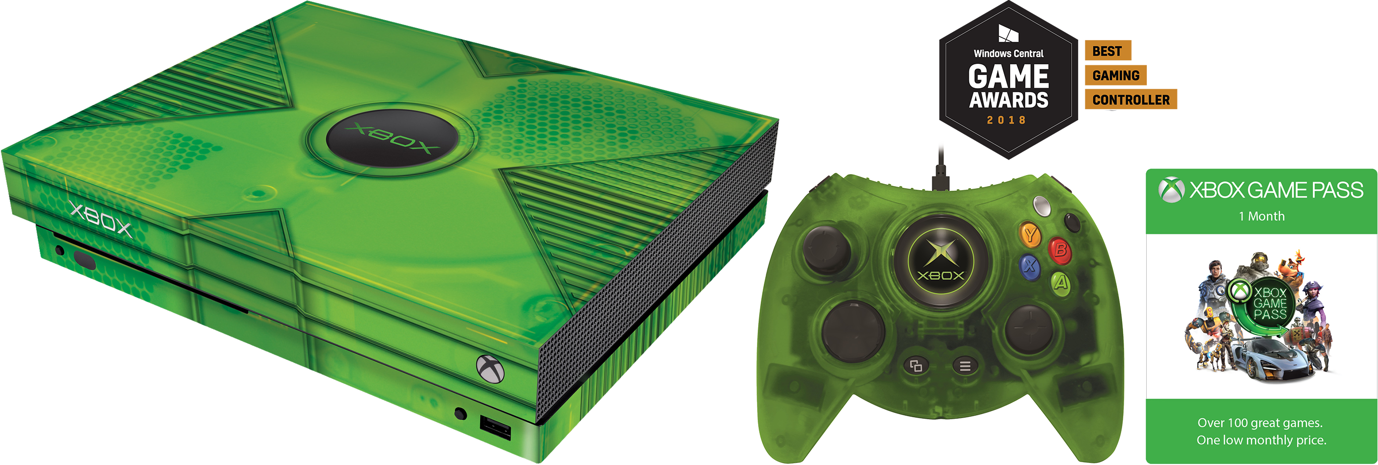 Hyperkin Xbox Classic Pack for Xbox One X including console skin, green Duke wired controller, and 1 month of Xbox Game Pass.