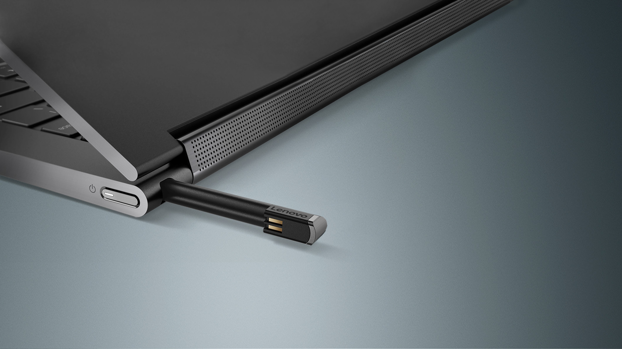 Partial view of the Lenovo Yoga C930 showing the Pen Garage