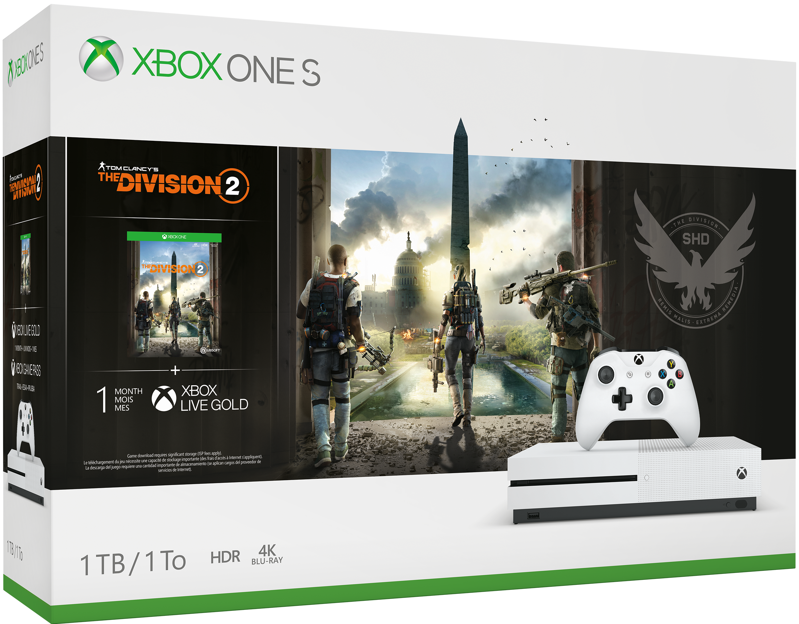 Grafica della confezione bundle Xbox One S Tom Clancy's The Division 2
