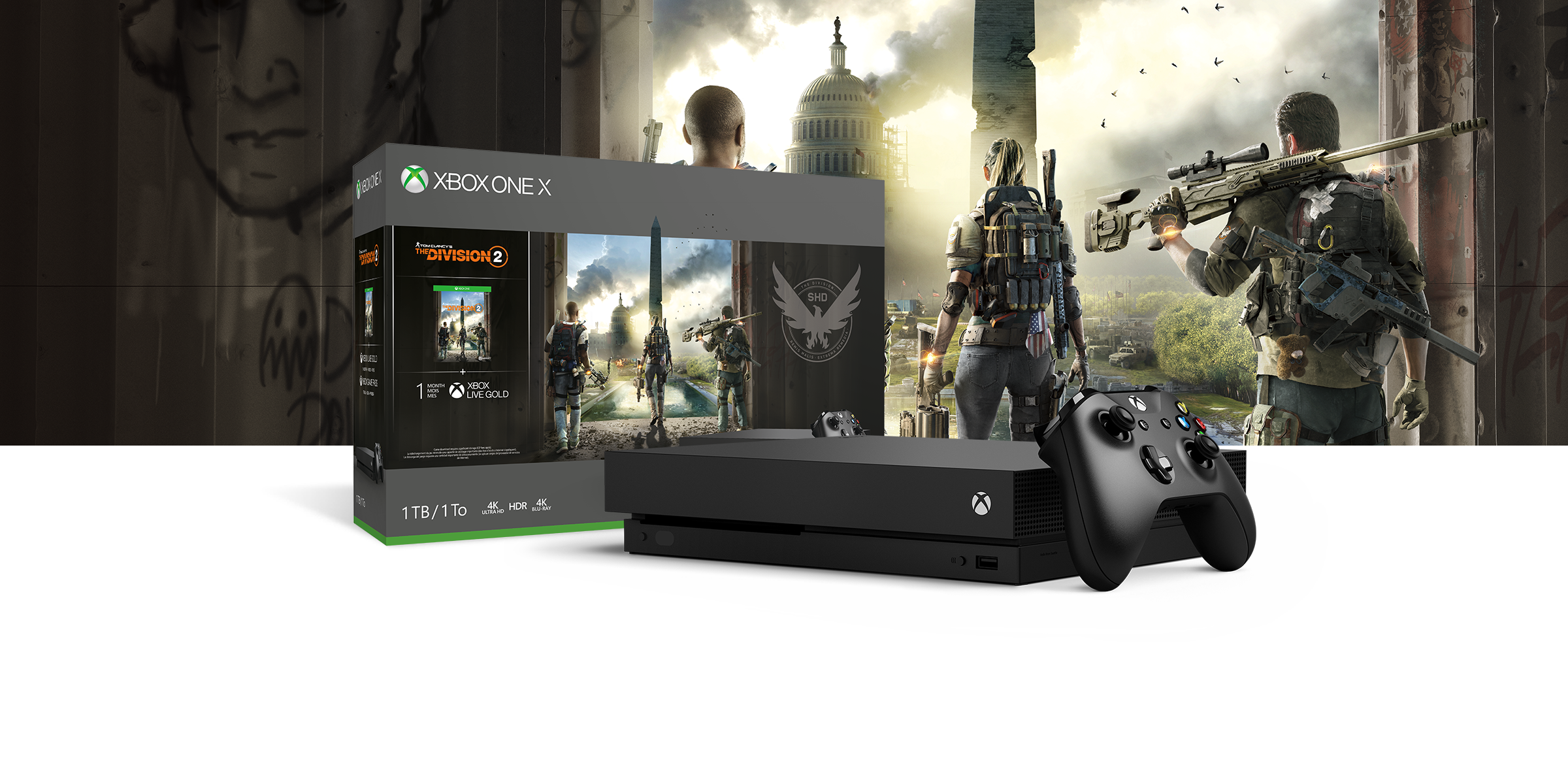 Xbox One X Konsole vor einer Hardware-Bundle-Box im Design von Tom Clancy's The Division 2