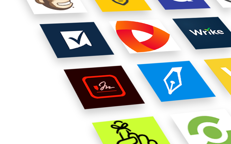 Close-up photograph of a large variety of app icons displayed in a grid