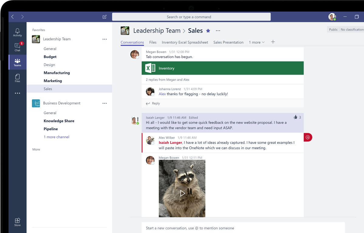Close-up photograph of Microsoft Teams page displayed on a laptop screen. It shows functionality and a team conversation in progress.