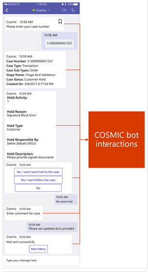 This is a long,  vertical graphic image that shows the progression of activities between an automated bot,  and a seller,  in the Microsoft Teams user interface.