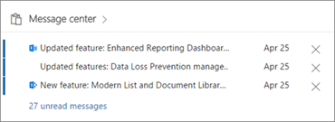 This image is a screenshot of a portion of the Message center in Office 365. It provides administrators with a list of new and changed Office 365 features.