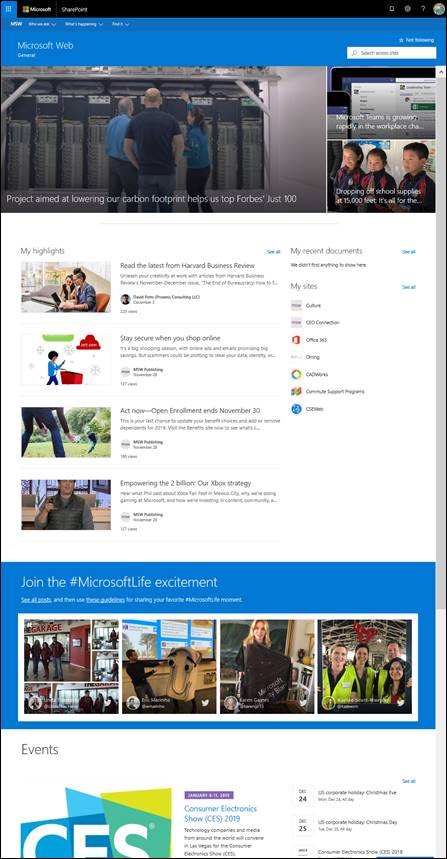 A screenshot of MSW,  an internal communication site for employees.