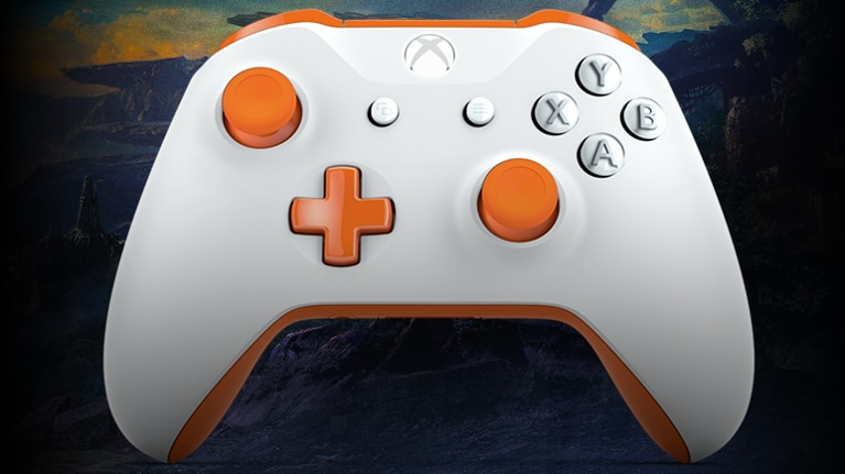 White xbox one controller with orange joysticks in front of flying javelins