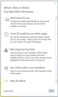 This image is a screenshot of the 'What's New'window in Microsoft Word. It provides a summary of key changes and new features that are available in an update. It also provides a link to more detailed information.