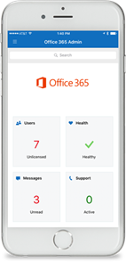 This image is a screenshot of the Office 365 Admin app that runs on smart phones. Administrators can use the app to receive Office 365 service notifications,  add users,  create requests,  and more.