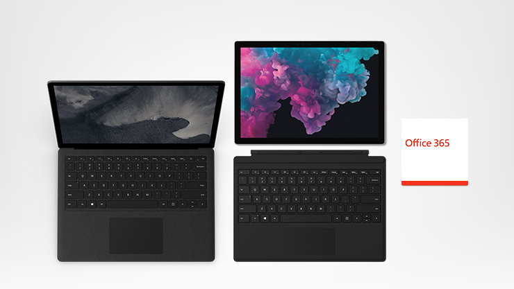 Surface Pro 6, Laptop 2, Case, Type Cover, Office 365