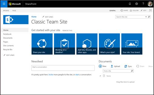 A screenshot of the default classic team site experience.