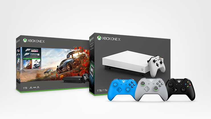 Xbox One X Forza Horizon 4 console bundle, Xbox One X console and free Xbox controller