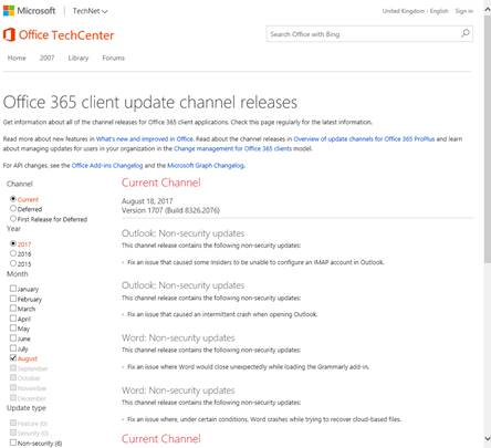 This image is a screenshot of the Office 365 client update channel releases web site. Administrators can use filters on the left of the page to specify a particular update channel,  and view the relevant information about that channel's releases in a list on the right.