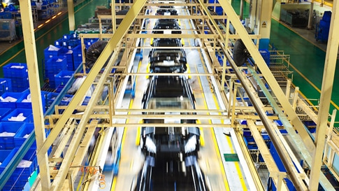 Overhead view of auto assembly line