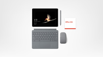 Surface Go, caneta, capa teclado, Office 365 e Mouse
