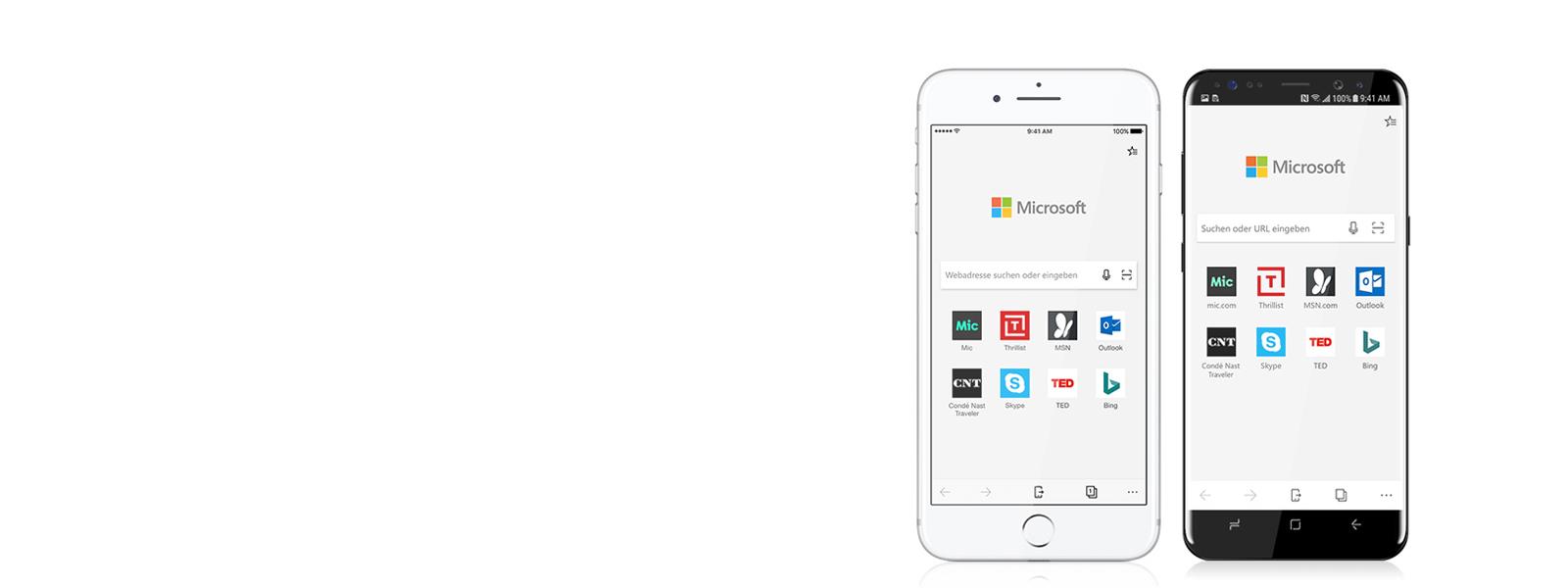 Ein Apple- und ein Android-Smartphone, auf denen Edge läuft