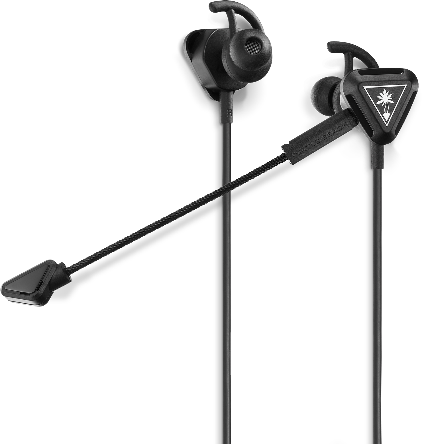 Front view of black Turtle Beach Battle Buds In-Ear Gaming Headset with microphone extended
