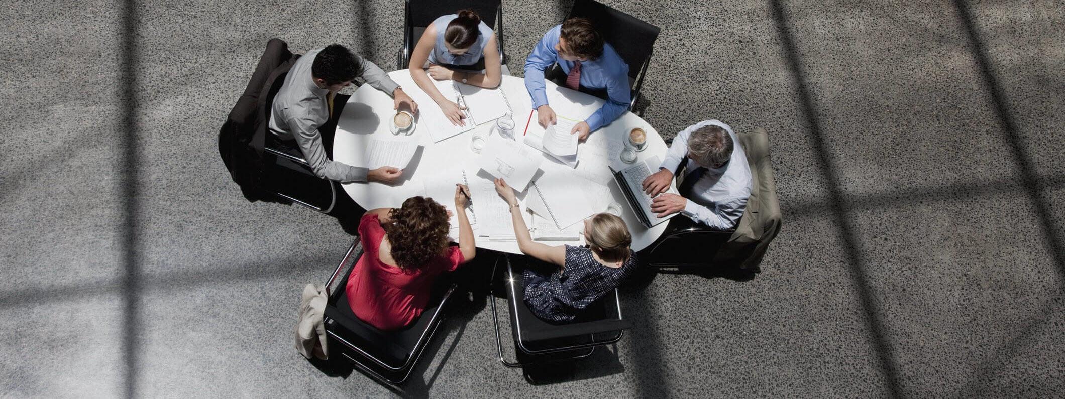Top down view of outdoor meetings.