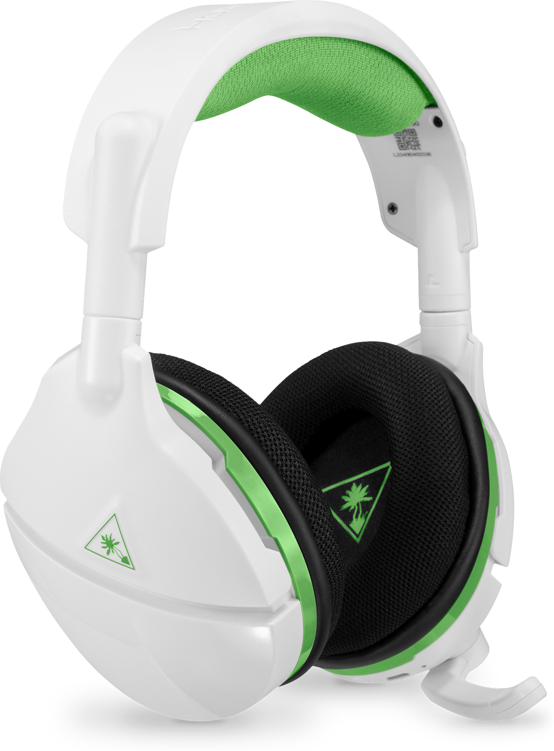 Turtle Beach Stealth 600 in White from a front angle, with the microphone pulled down