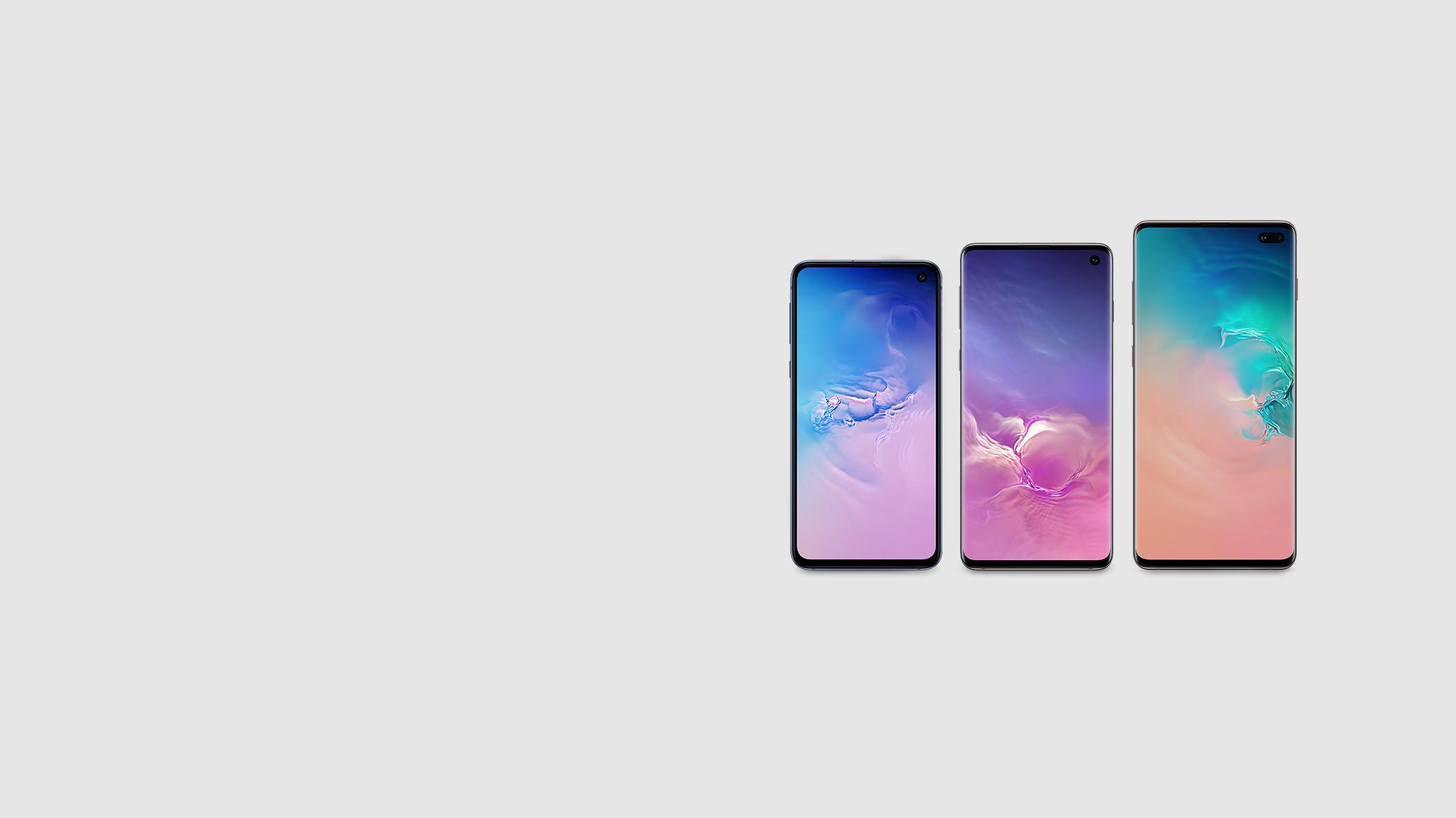 A Samsung Galaxy 10e, 10, and 10+