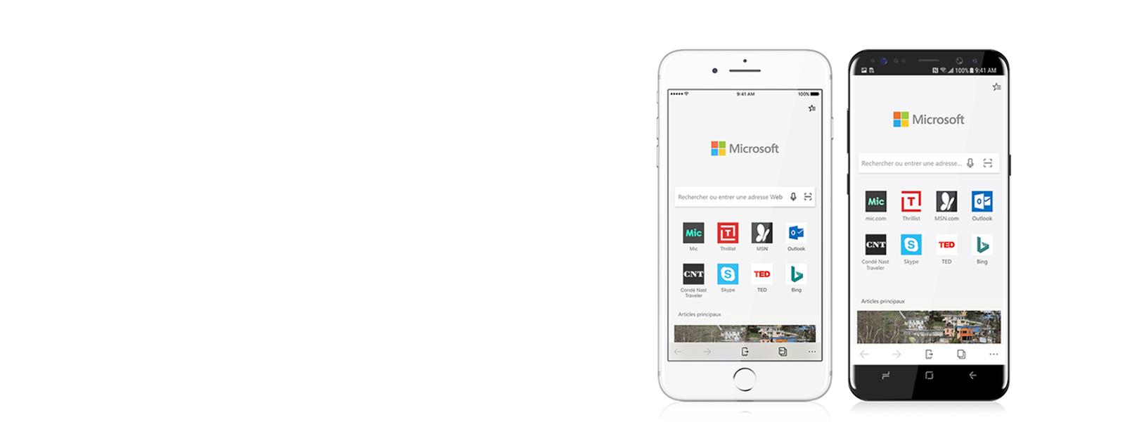 Téléphone Apple et Android avec écrans mobiles Edge