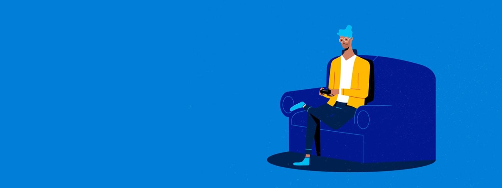 テレビのリモコンを持って椅子に座っている男性。