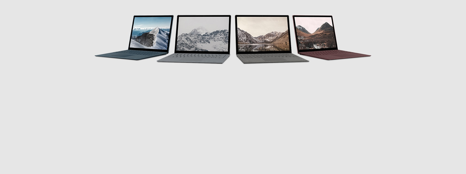 Surface Laptop (Kobaltblauw, platina, witgoud, bordeauxrood)
