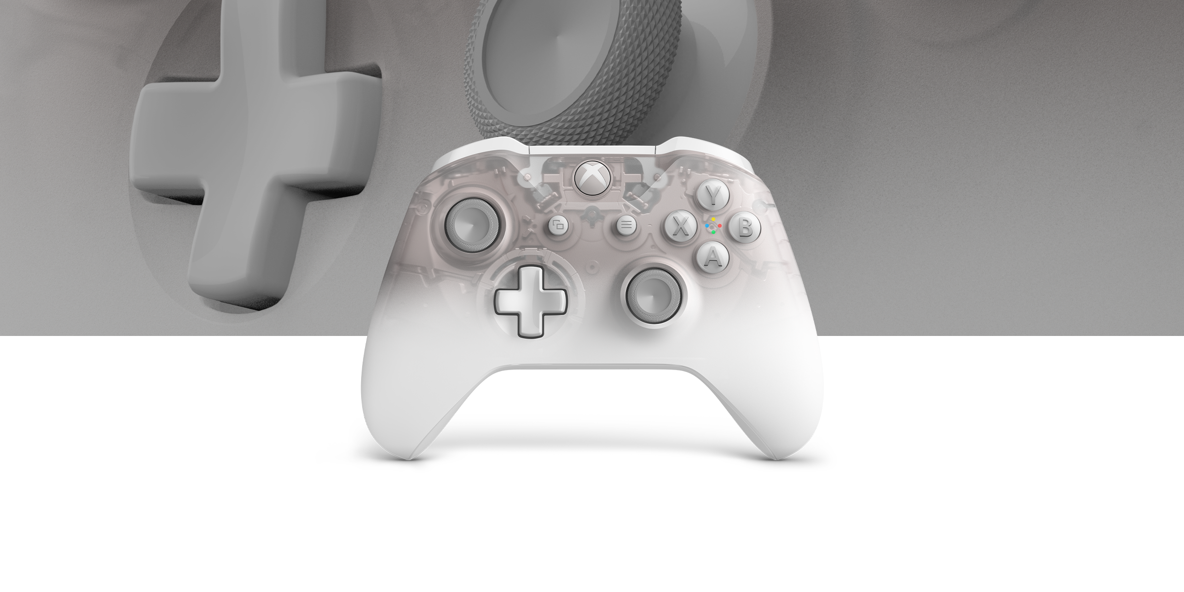 Xbox Wireless Controller Spantom White Special Edition with a close up view of the controller in the background