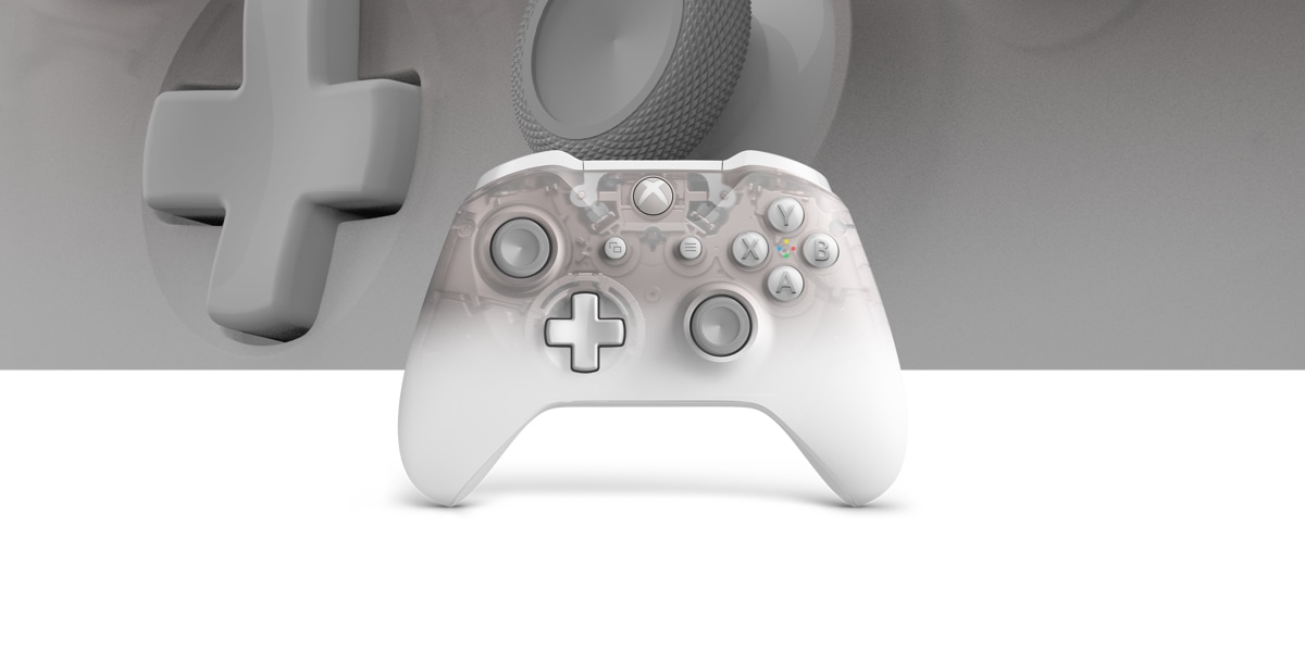 Xbox Wireless Controller Phantom White Special Edition with a close up view of the controller in the background