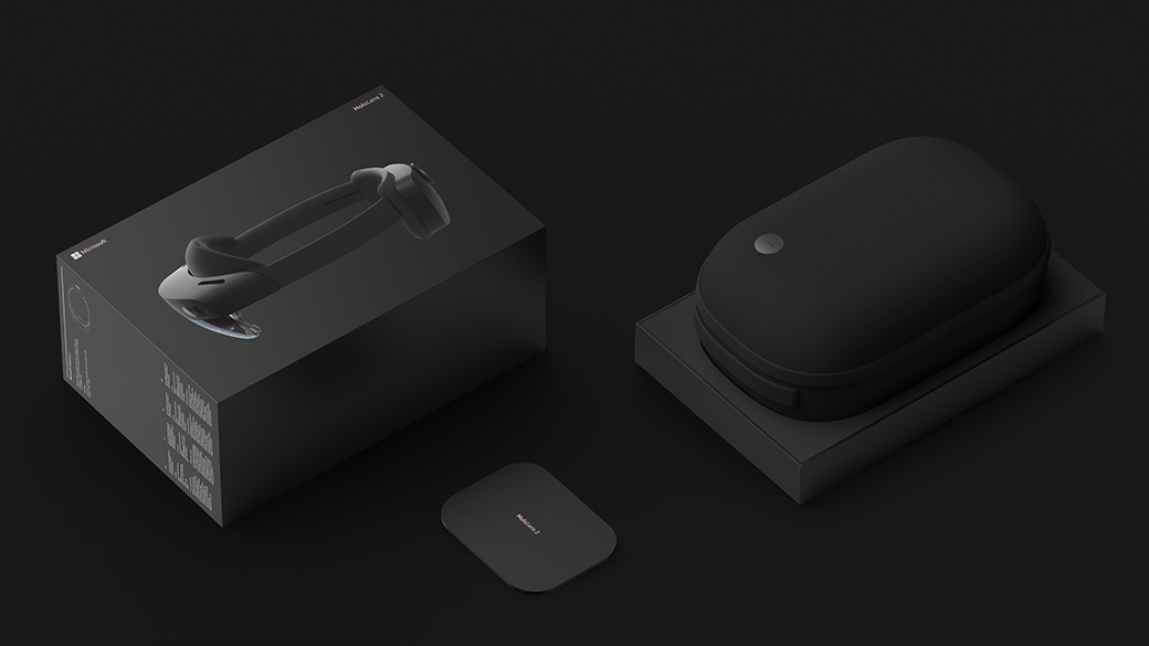 HoloLens 2 box, charger, and carrying case