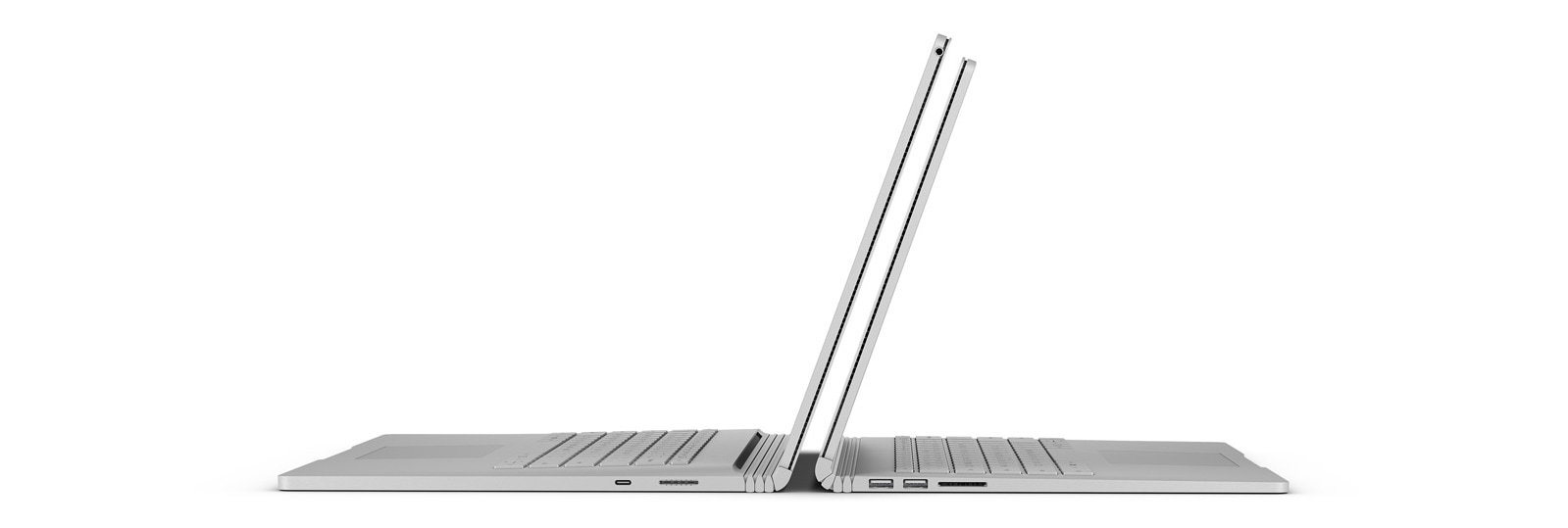 "Um Surface Book 2 de 13"" e um Surface Book de 15"" virados de costas"