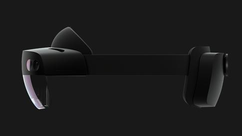 HoloLens 2 ヘッドセットの側面図