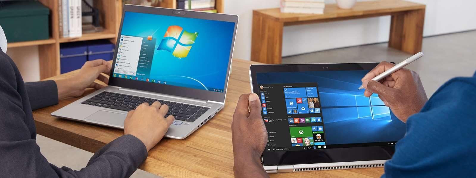 イメージ: Windows 7 のスタート画面がノートパソコンに表示されている