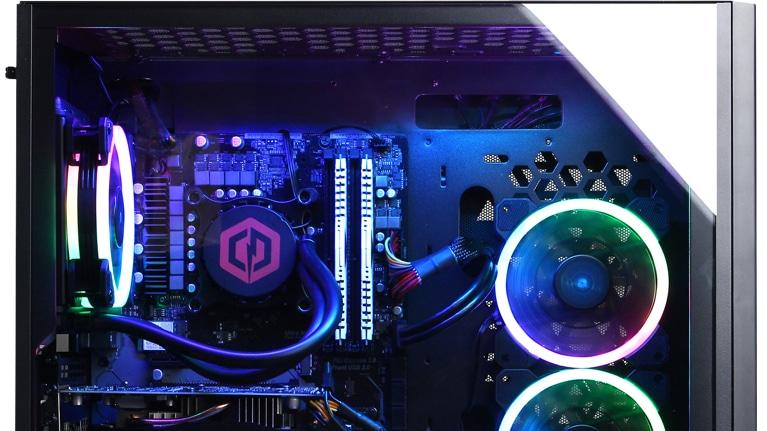 fbdc44da20c Side view of CyberPower PC Gamer Supreme Liquid Cool SLC4000MST Gaming PC