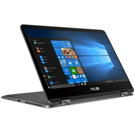 Asus Zenbook Flip UX461FN 2-in-1 laptop from the front with Windows on screen