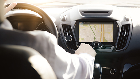 interior view of car dashboard showing GPS software