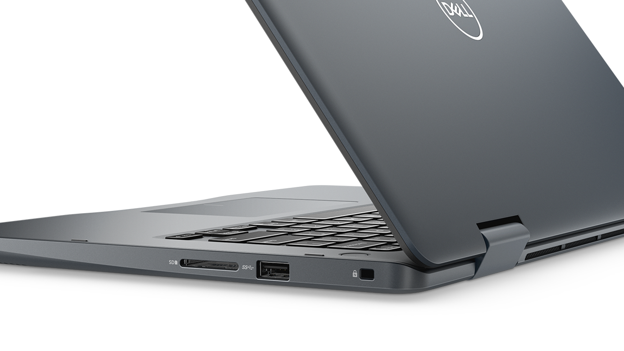 Front right rear view of the Dell Inspiron 14 i5481-3236GRY-PUS 2-in-1