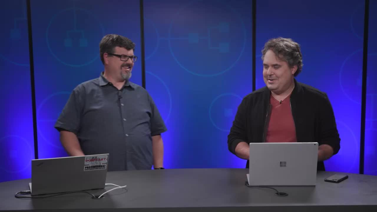 Still image from video showing Alex Weinert in conversation with Caleb Baker.