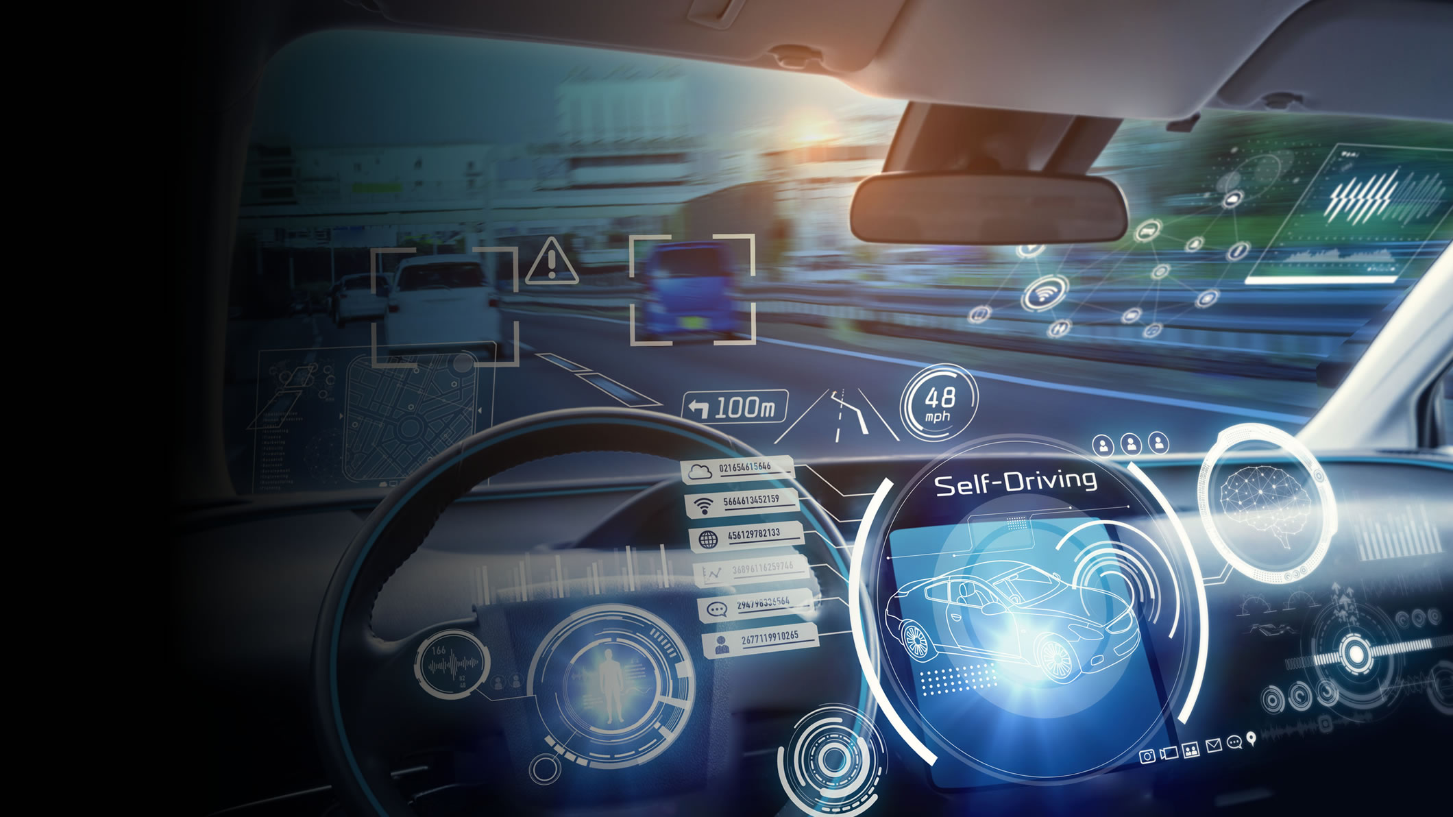 interior of self-driving vehicle displaying technology features