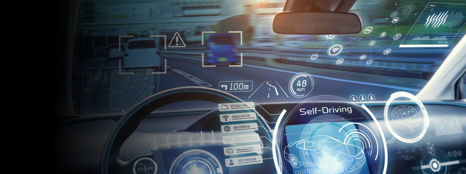 The interior of a self-driving vehicle displaying technology features