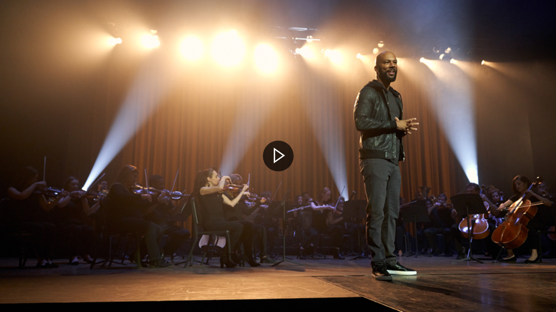 Rapper Common discusses Microsoft AI on stage.