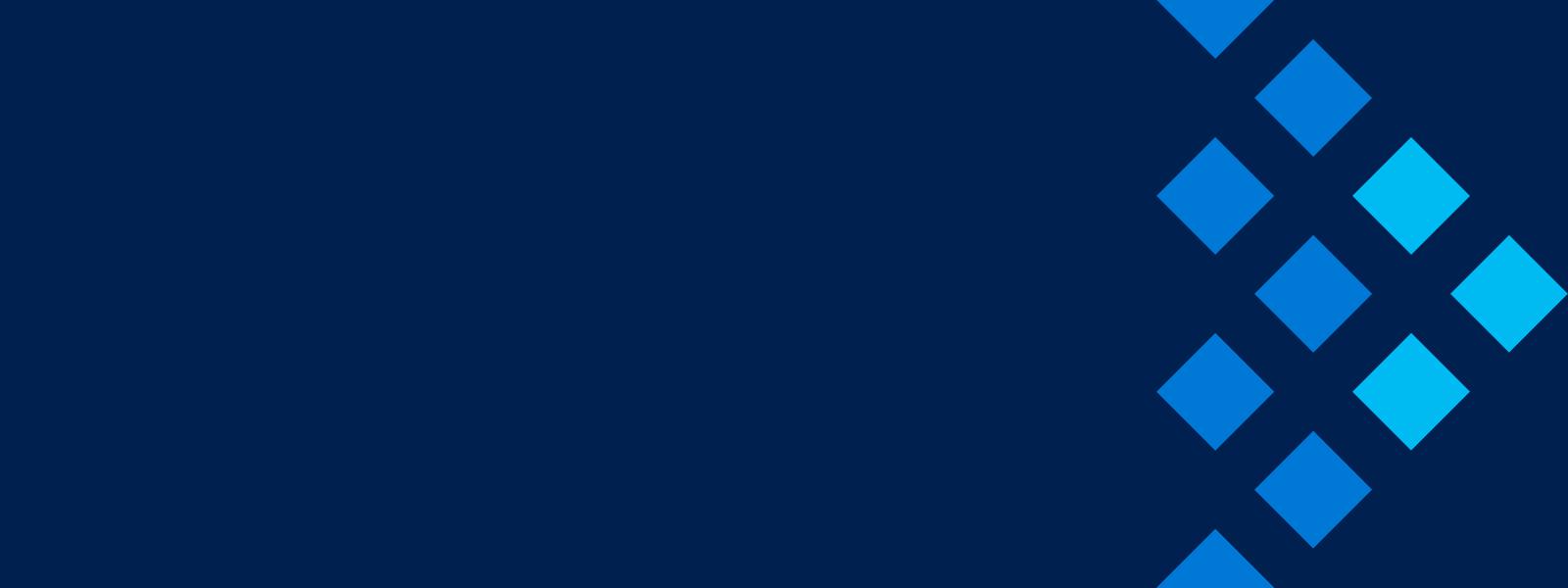 Ein dunkelblaues Schmuckbild mit hellblauen Rauten, die die Einzeltermine des Innovation Summits repräsentieren